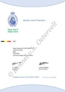 Parázs Belgisch Jeugdkampioen